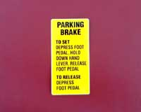 Parking Brake Decal (E8 and E10)