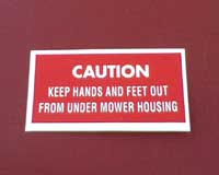 Mower deck decal - Hands & feet caution