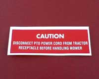 Mower deck decal - Mower cord caution