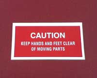 Snow Thrower Decal - hands and feet caution
